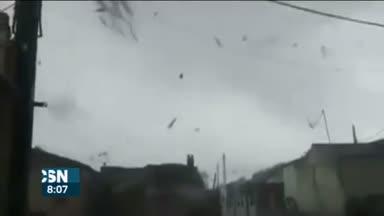 Destrozos por el tornado en Valdelamusa