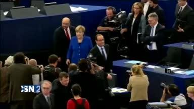 Merkel y Hollande piden unidad en Estrasburgo