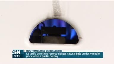 Baja el gas natural